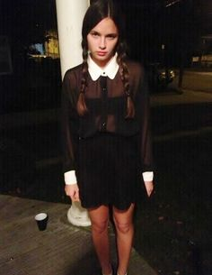 Wednesday Addams made easy with a black button-down tucked into a black skirt. Add braids and make use of your bitchy resting face. | 31 Insanely Clever Last-Minute Halloween Costumes