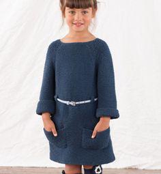 Modèle robe enfant au point mousse