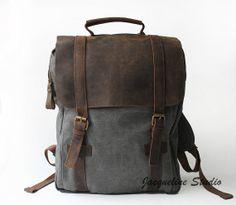 Genuine Cow leather bag/ canvas school bag/ by JacquelineStudio, $54.99