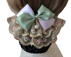 Korean Style Elegent Lace Bow Bowknot Pearl Mesh Elastic Snood Net Hairnets Barrette Hair Clip Accessories Decor Bun Cover Green , Two ways to wear >>> Read more reviews of the product by visiting the link on the image.