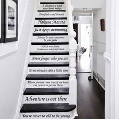 Stair Decals Disney Quotes Stairway Decals Quote 14 Steps Vinyl Stickers lettering Family Home Decor Staircase Disney Decal ZX233 by IncredibleDecals on Etsy https://www.etsy.com/listing/253889533/stair-decals-disney-quotes-stairway