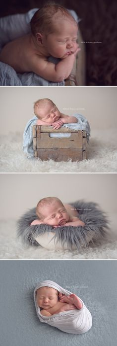 Grey and cream tones for newborn session - milkandhoneyphotography.ca