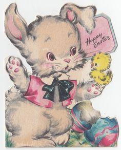 Vintage Greeting Card Easter Die-Cut Cute Bunny Rabbit Hallmark 1940s j811