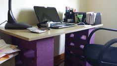 Perfect Wood Slats And Cinder Block Desk Cinder Block