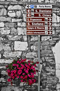 SIGN of DIRECTIONS in ASSISI ITALY.. Where are our Italian students going to go tonight at 5.30pm? Email info@idesli.com to join them or to enroll in one of our new Italian courses!
