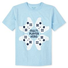 Made of polyester jersey; side-dyed for a heathered look.'Multi player hero' with game controller graphic design at front.Pre-washed for added softness and to reduce shrinkage. Mobile T, Boys T Shirts, Boy Shorts, Toddler Outfits, Graphic Tees, Graphic Design, Video Game, Kids Fashion, Hero