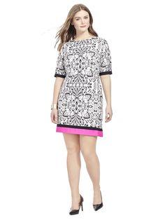 738edf46489598 Eliza J | Shift Dress In Damask Print | Gwynnie Bee Eliza J Dresses, White