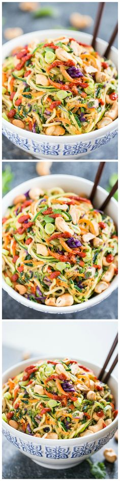 Rainbow Veggie Dragon Noodles - spiralized comfort food in a bowl, topped with extra sriracha if desired! by Divonsir Borges Veggie Dishes, Veggie Recipes, Asian Recipes, New Recipes, Whole Food Recipes, Vegetarian Recipes, Cooking Recipes, Healthy Recipes, Vegetarian Lifestyle