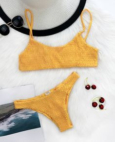 $27.99 Chicnico Sexy Hand Made Solid Color Bikini Set