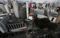 Yup, that's the side of a giant building! - Graffiti Artist's Mural Honors Oscar Niemeyer