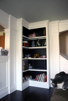 bookshelf interiors painted black