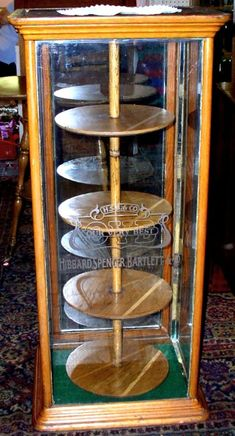 Oak Display Case with Revolving Shelves, Etched Glass, BRASS LANTERN ANTIQUES