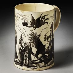 #PRINT OF THE MONTH  Sawneys Defence Against the Beast Whore Pope and Devil about 1779. Until 5 December 2015 National Art Library  The image on this mug was taken from a popular satirical anti-Catholic print. The print was a commentary on attempts to improve the legal status of Catholics in Scotland which provoked riots in Edinburgh. Sawney was a nickname given to Scottish men in the 18th century. The mug may have been used to make political toasts. by vamuseum