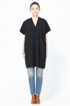 UZI Oversized V-Neck Dress (Black) SS14 Available now at Totokaelo.com!
