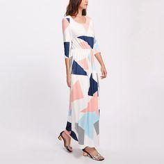 77e8c24fd8 Himanjie Autumn Dress Fahsion Multicolor Drukarnie Kobiety Sukienki  Wysokiej Jakości o Neck Długa Sukienka Dorywczo Plaża