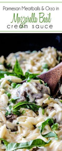 Crazy delicious creamy, cheesy sauce coating juicy meatballs and tender orzo. So good....you could eat this for days!!