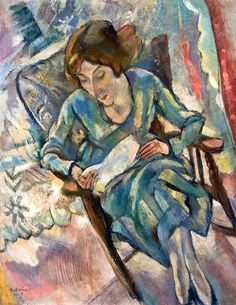 bofransson: Girl in Green Reading Jules Pascin -...