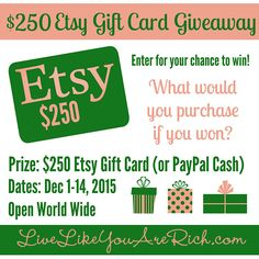 $250 ETSY Gift Card Giveaway- hurry enter now. ends today 12/14/15