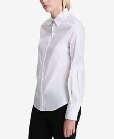 Calvin Klein Cotton Bishop-Sleeve Blouse - White XL