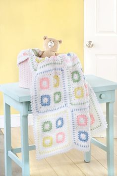 Sweet gifts for a new arrival, these baby blankets have the timeless appeal of classic styles plus a fresh feel with updated colors and special details. Mom will love the bright pastels. and Baby will Crochet Granny Square Afghan, Baby Afghan Crochet, Manta Crochet, Baby Afghans, Kids Blankets, Knitted Baby Blankets, Crochet Crafts, Crochet Projects, Baby Kind