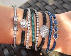 blue and black bracelets