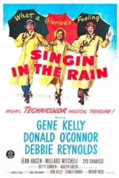 "Singin' in the Rain is a 1952 American musical-romantic comedy film directed and choreographed by Gene Kelly and Stanley Donen, starring Kelly, Donald O'Connor, and Debbie Reynolds. It offers a lighthearted depiction of Hollywood in the late 1920s, with the three stars portraying performers caught up in the transition from silent films to ""talkies."""