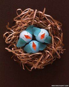 Last Minute Easter Crafting - Add Paper To Plastic Eggs To Make Little Birds