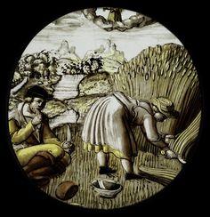 Monatsbild August mit Sternzeichen GNM Inventarnr. MM739 Hirsvogel-Werkstatt nach Entwuerfen von Hans Sebald Beham. um 1530/1540 Franken; Nuernberg (Germany) diameter: 9.5-10cm