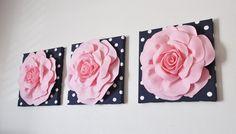 Flower Wall Art - Light Pink Rose on Navy and White Polka Dot 12 Canvas Wall Hanging - Felt Flower Yellow Nursery, Nautical Nursery, Girl Nursery, Blush Nursery, Navy Nursery, Wall Decor Set, Nursery Wall Decor, Nursery Ideas, Nursery Art