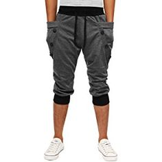 a565f0c2e6a Minibee Men s Casual Harem Shorts Jogger 3 4 Pant Two Side Pockets at Amazon  Men s Clothing store