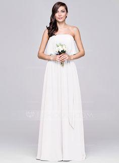 A-Line/Princess Strapless Floor-Length Ruffle Zipper Up Strapless Sleeveless No Other Colors Spring Summer Fall General Plus Chiffon Bridesmaid Dress