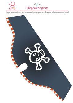 Chapeau-de-pirate-a-imprimer. Girl Pirates, Pirates Cove, Pirate Boy, Pirate Hats, Decoration Pirate, Disney Cards, Pirate Birthday, Nautical Baby, Disney Halloween