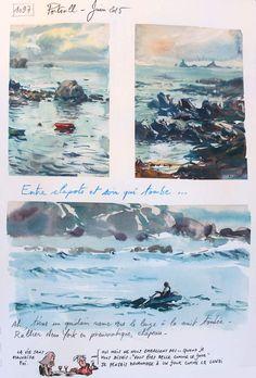 Une Bretagne par les contours / Portsall, #ericmauban,Travel Journal - Watercolor - Art