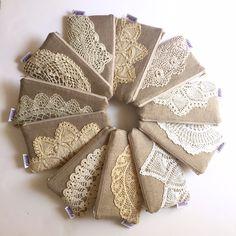 Linen Burlap Clutch Vintage Doily Bridesmaid by JuneberryStitches
