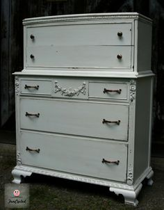 White Antique Distressed Dresser with Copper Knobs by FunCycled  www.funcycled.com
