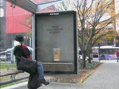 McDonald's guerilla marketing action ~ A steam machine was built to fit inside a transit shelter and periodic bursts revealed a message during a Mcdonald's free coffee promotion. The message is in the same color as the background so it's only recognized when the white steam is between the msg and background. #guerrilla #McDonald's