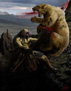 Predator vs Saber tooth     art by Patrick Cornett