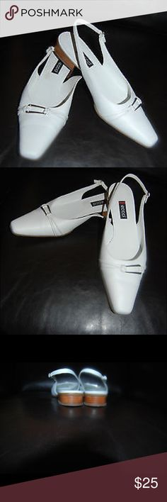 Ecco White Leather Sandals - size 37, US 6-6.5. Ecco White Leather Sandals - size 37, US 6-6.5.  Beautiful and comfortable shoes, like new condition Worn once. $125 Smoke and pet free home Ecco Shoes Flats & Loafers