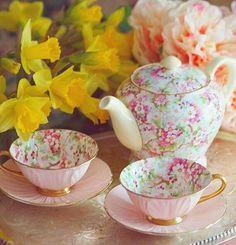 2  PINK TEA  CUPS/ SAUCER, TEA POT WITH FLORAL DESIGN