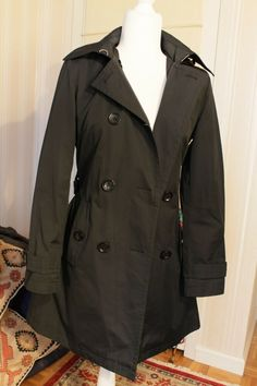 ad2a4e95a9 Details about Michael Kors Classic Black Double Breasted Trench Coat  Detachable Hood Slim XS