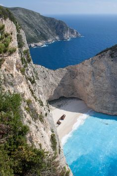 GREECE – Navagio beach, a. Places To Travel, Places To See, Places Ive Been, Travel Destinations, Travel Europe, Corsica, Dream Vacations, Vacation Spots, Vacation Ideas