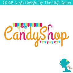 OOAK Premade Logo Design: Candy Shop Lollipops in Pink by digidame