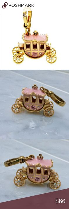 Juicy Couture Princess Carriage Charm Calling all Princesses! This pink Juicy Couture carriage charm is fit for royalty!   This item is preloved but in good condition. It has all of it's stones, the wheels and the clasp work. Minor nicking on bottom. Overall in great condition.  Like Juicy Couture? Check out my shop! I offer discounts on bundles. Juicy Couture Jewelry Bracelets