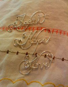 INSPIRATIONAL WORDS Faith Hope Love Wire Wrapped Word Pins in 20 gauge Silver Plated Wire