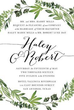 Printable Wedding Invitation Suite - Botanical Wreath - Watercolor Botanicals, Leaves, Herbs