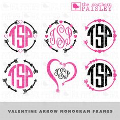 These Valentine Arrow Monogram Frame files are for use in your Silhouette Studio, Cricut, or other programs that can read .ai, .dxf, .eps or
