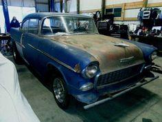 55 Chevy Bel Air 2 dr hardtop hot rod project, gasser, rat rod, drag race car