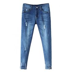 Blue Ripped Zipper Fly Cigarette Denim Pants ($22) ❤ liked on Polyvore featuring jeans, distressing jeans, ripped jeans, cigarette leg jeans, torn jeans and destroyed jeans