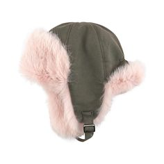 Cotton and fur hat with earflaps - 140873