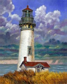 25 Simple And Easy Lighthouse Painting Ideas For Beginners Simple Oil Painting, Light Painting, Artist Painting, Lighthouse Drawing, Lighthouse Art, Watercolor Landscape, Landscape Paintings, Watercolor Paintings, Lighthouse Pictures